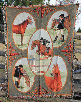 """Run for the Roses"" Show Jumping Horse Throw Woven Tapestry Blanket NEW"