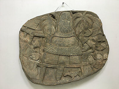 Papua New Guinea Story Board Wood Kambot Carved Wood Relief Story board