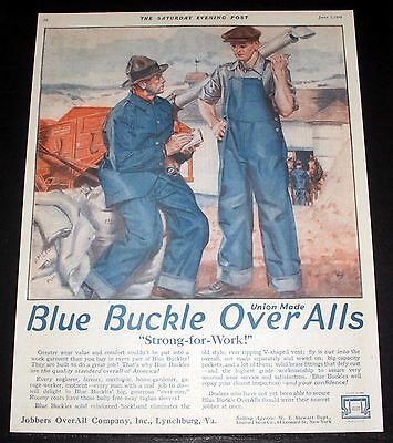 "1919 Old Magazine Print Ad, Blue Buckle ""union Made"" Overalls Wear, Strong, Art!"