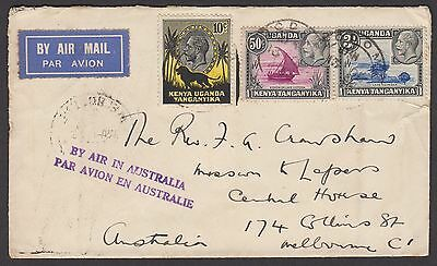 KUT - Tanganyika 1937 airmail cover sent airmail to Australia with KGV stamps