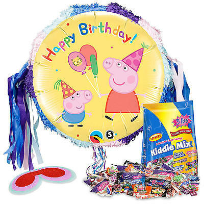 """Peppa Pig 18"""" Pinata Birthday Party Kit - Includes Balloons, Mask, 3lbs of Candy"""