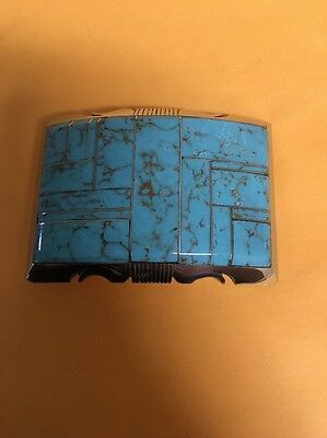 Native American Navajo Inlay Stunning Turquoise!! Steve Francisco Belt Buckle #2