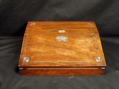 c1900 Oak Writing Slope With Mother Of Pearl Inlay