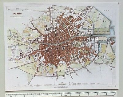 Old Antique colour map of Dublin, Ireland: 1830's, 1800's 12 x 9 S.D.U.K Reprint