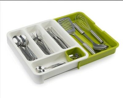 JosephJoseph Expandable DrawerStore White/green Cutlery Tray
