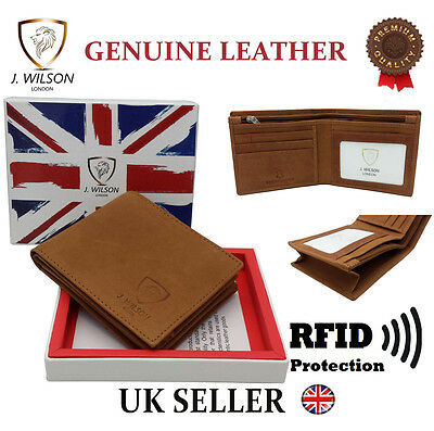 Mens Designer Leather Wallet RFID SAFE Contactless Card Blocking ID Protection