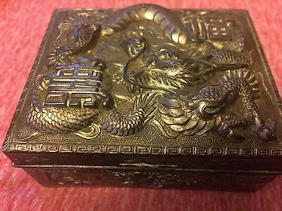 Rare Vintage Japanese Dragon Cigarette Box Silver Plated