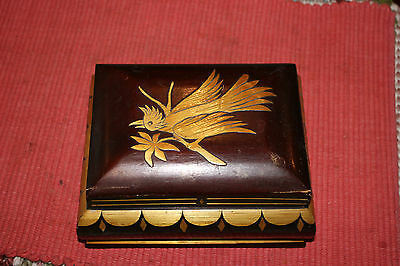 Antique Asian Chinese Wood Inlay Lidded Trinket Box-Inlay Bird Front-Inlay Sides