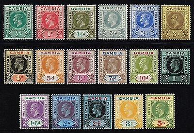 Gambia 1912-22 King George V set to 5s., MH (SG#86/102)