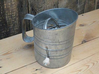 Vintage Bonco Mechanical Flour Sifter Sieve Wooden Handle Kitchenalia X