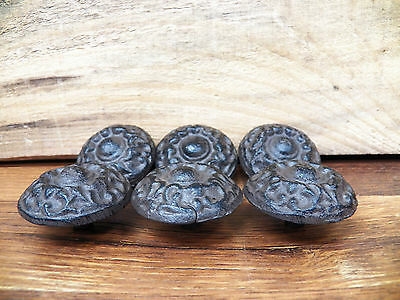 Lot Set of 6 Rustic Brown Cast Iron Drawer Pulls Knobs Handles Cupboard Dresser