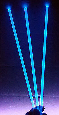 "5 pc CLEAR BLUE FLUORESCENT ACRYLIC PLEXIGLASS LUCITE ROD 1/4"" DIAMETER 24"" LONG"
