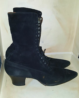 Antique Seiberling Victorian Ladies Black Leather Suede Lace Up Boots
