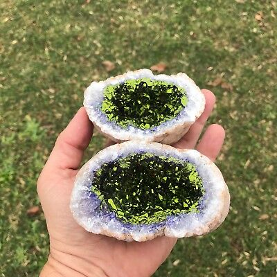 (1) EXTRA LARGE PURPLE GEODE Crystal with a GREEN Pyrite Center - (Both Halves)