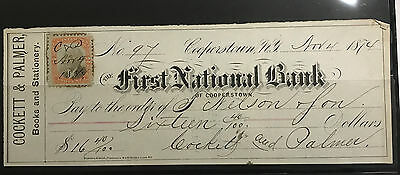 1874 1St National Bank Cooperstown  W/revenue Stamp Sharp Note And Signatures