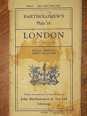 Rare BARTHOLOMEW'S Plan Map of LONDON England Postal Districts in Color