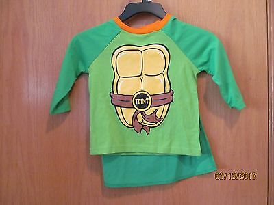 """TMNT~""""Shell"""" Shirt with detatchable cape~ LS Toddler Boys Size 4T Mos.~NEW w/tag"""
