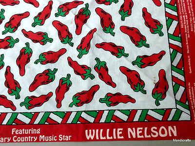 Bandana 21in Scarf Willie Nelson Hot Peppers Print Ross Concert 1996 Ticket Pass