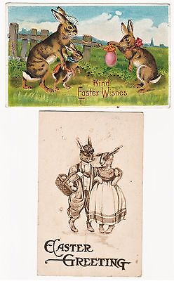 SUPER Postcard LOT of 2 - Easter Anthropomorphic Humanized Bunny Rabbits 1911