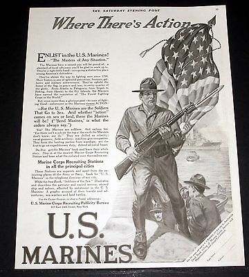 1917 Old Magazine Print Ad, Enlist In The U.s. Marines! Where There's Action!