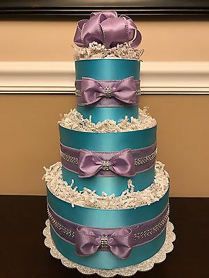 Diaper Cake Princess Lavender Turquoise Girls 3 Tier Baby Shower Centerpiece