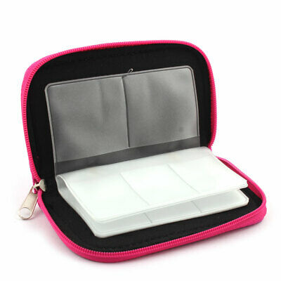 Nylon 22 Slots Storage Carrying Pouch Box Fuchsia for CF Micro SD Memory Card