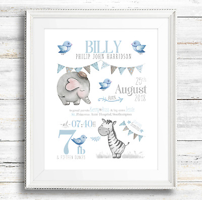 Personalised Baby Boy Safari Birth Announcement Print - Nursery Print