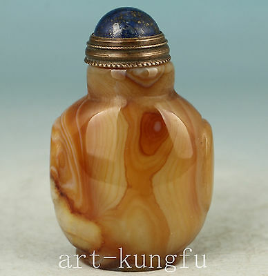Chinese Old Agate Collection Handmade Carved Snuff Bottle