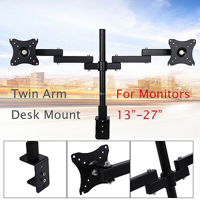 "Double Monitor Arm Desk Mount Computer Screen Swivel TV Bracket Stand 13-27"" New"