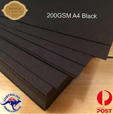 100 x A4 200GSM Black Kraft Paper Sheets  Natural Recycled- Premium Quality