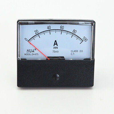 DC 0-100A/75mV Analog Panel Meter Ammeter Gauge DH-670