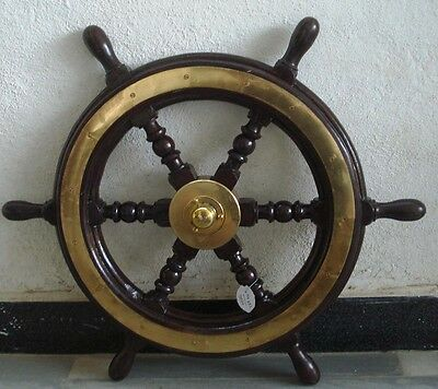 ship's STEERING - HELM - Wooden & Brass - LARGE