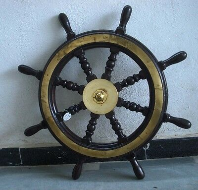 Vintage Style ship's STEERING - HELM - Wooden & Brass - LARGE