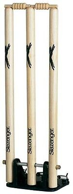 Slazenger Spring Return Cricket Wooden Stumps With Bails & Metal Base Wickets