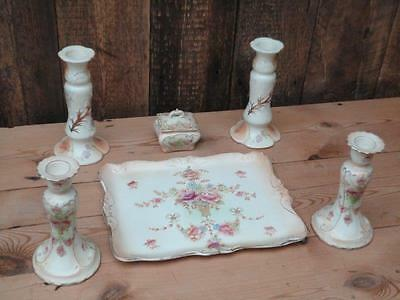 Vintage Devonware Fieldings Porcelain Tray With Four Candle Holders Trinket Dish