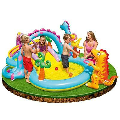 Intex Dinoland Childrens Activity Water Play Centre Paddling Pool Slide Spray