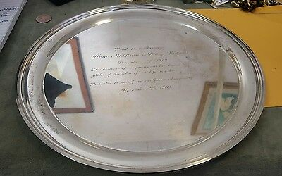 """Vintage S Kirk & Son Sterling 4112 Large 12"""" Tray Engraved Approx 25.5 Troy Oz"""