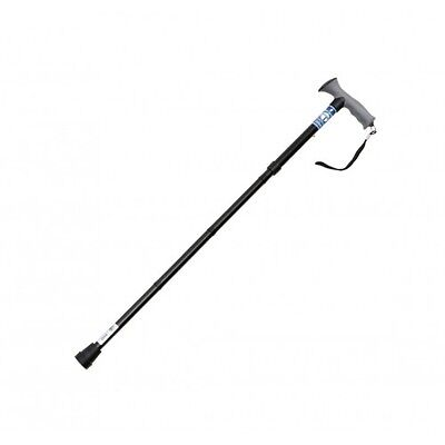 Soft Grip Gel Handle Folding Height Adjustable Walking Stick Cane Black