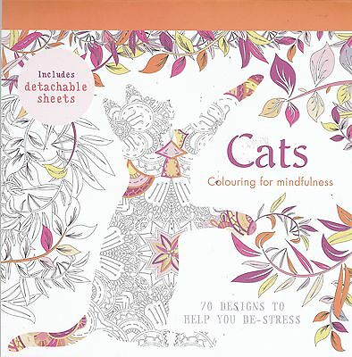 Cats Colouring Book, 70 Designs to Help You De-Stress (Paperback) New