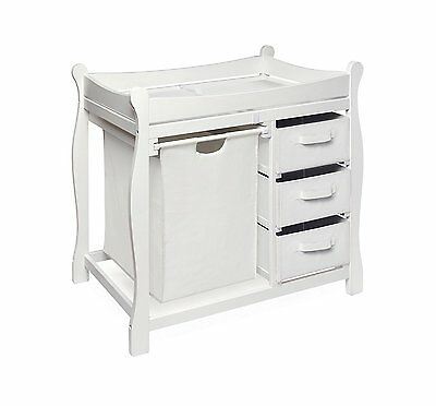 Badger Basket Company Sleigh Style Changing Table with Hamper/3 Baskets in White