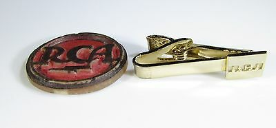Gold Tone Tie Clip with RCA Logo and an Appliance Emblem