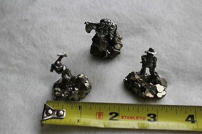 3 Comstock Pewter Miner Figurines