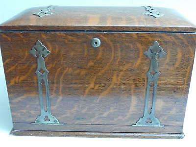 Antique Victorian Oak Stationary Box / Writing Slope with Fitted Interior