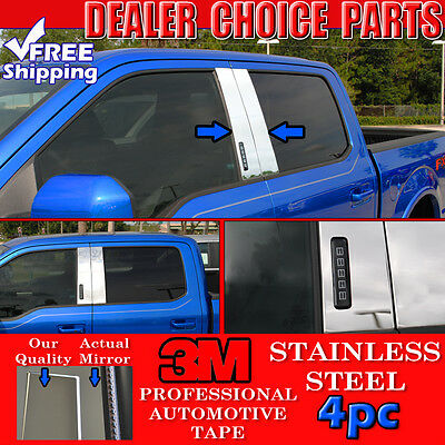2004-2014 Ford F150 F-150 Crew//Extended Cab 4pc STAINLESS STEEL Pillar Posts
