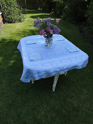 Vintage Blue White Tablecloth Linen? Matching Napkins Set of 4 Pretty Tea Party