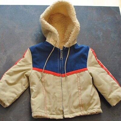 Vintage Sherpa Lined Hooded Toddler Jacket in Tan with Red Blue Size 2