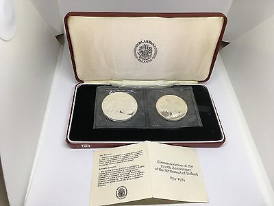 1974 Iceland Settlement 500,1000 Kronur Set of 2 Silver Coins Proof Case & COA
