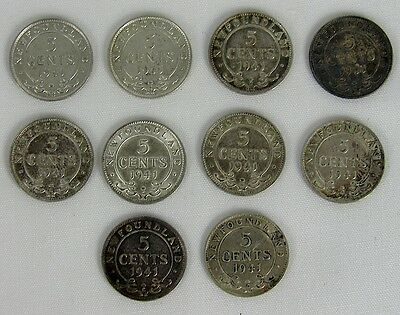 Newfoundland - Lot Of 10 - 1941 5 Cent Silver Coins
