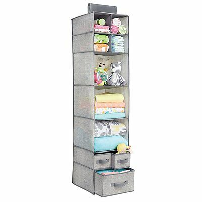 Closet Organizer mDesign Fabric Baby Nursery 7 Shelves 3 Drawers Gray