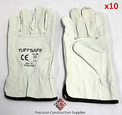 Tuffsafe Industrial Leather Rigger Gloves Size 11 Extra Large -Pack of 10